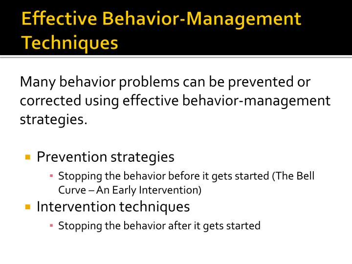 Effective behavior management techniques