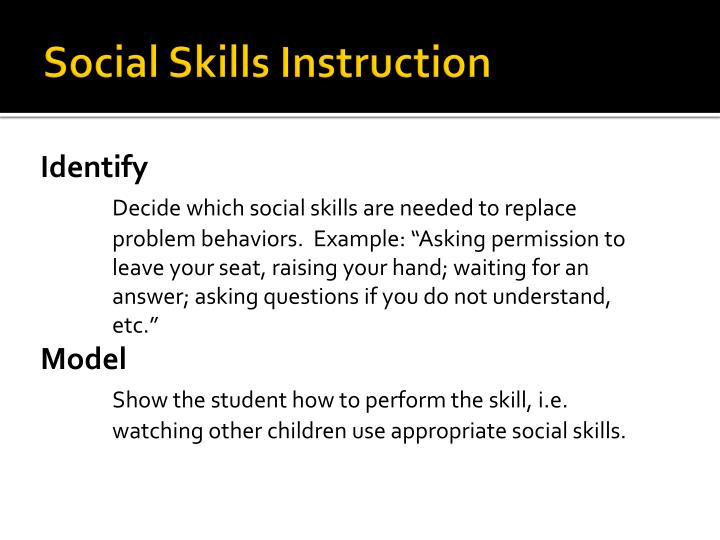 Social Skills Instruction