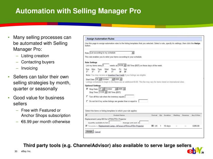 Automation with Selling Manager Pro