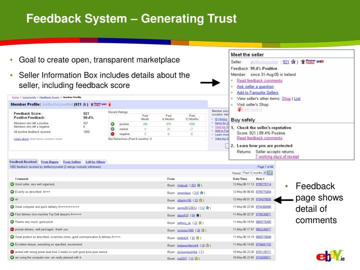 Feedback System – Generating Trust