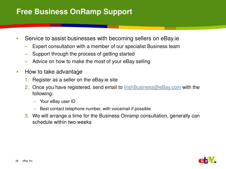 Free Business OnRamp Support
