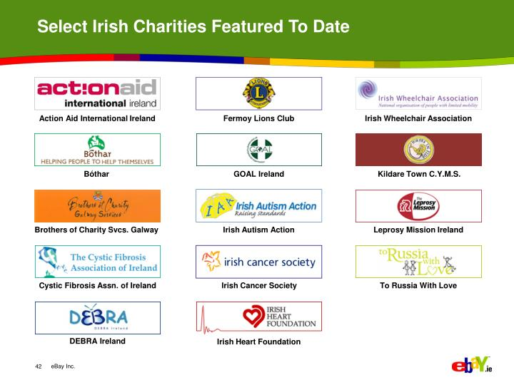 Select Irish Charities Featured To Date