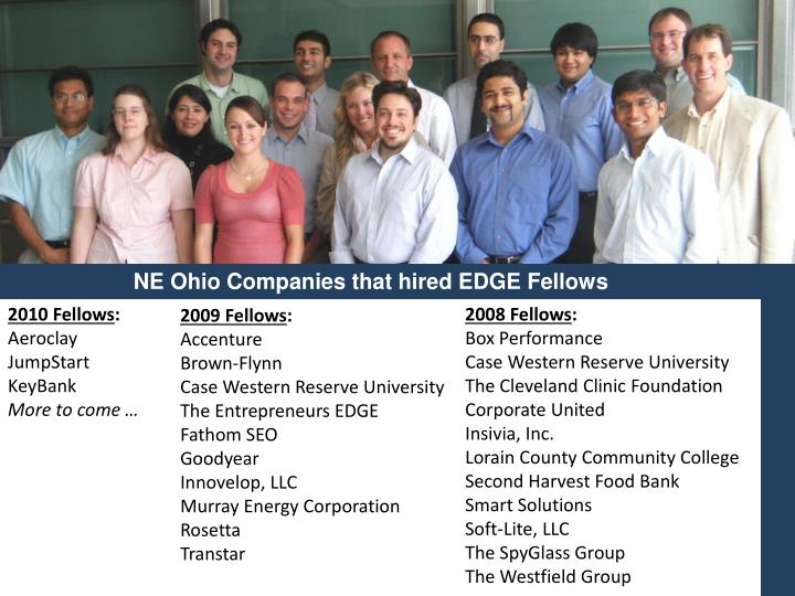 NE Ohio Companies that hired EDGE Fellows