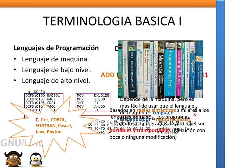 TERMINOLOGIA BASICA I