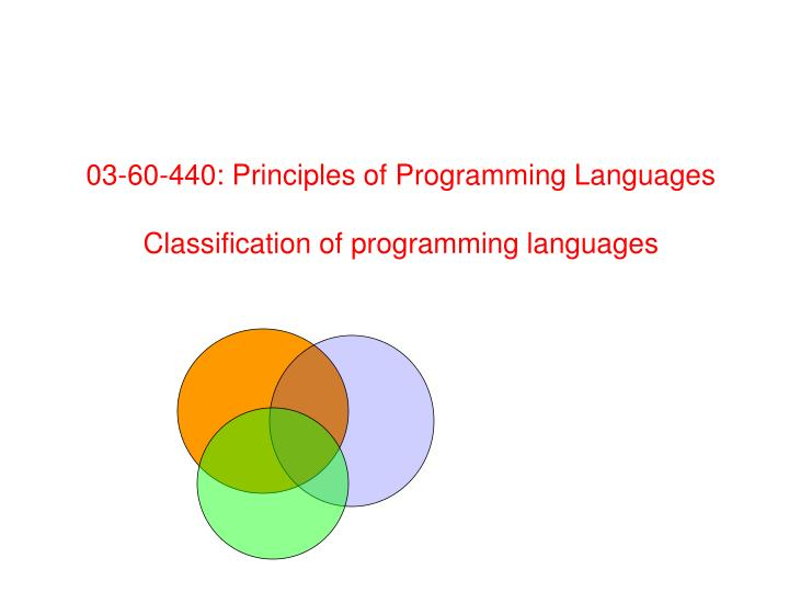 03 60 440 principles of programming languages classification of programming languages