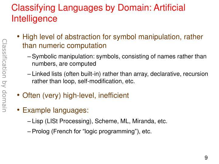 Classifying Languages by Domain: Artificial Intelligence