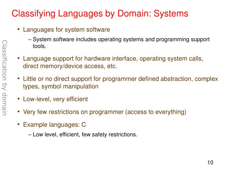 Classifying Languages by Domain: Systems