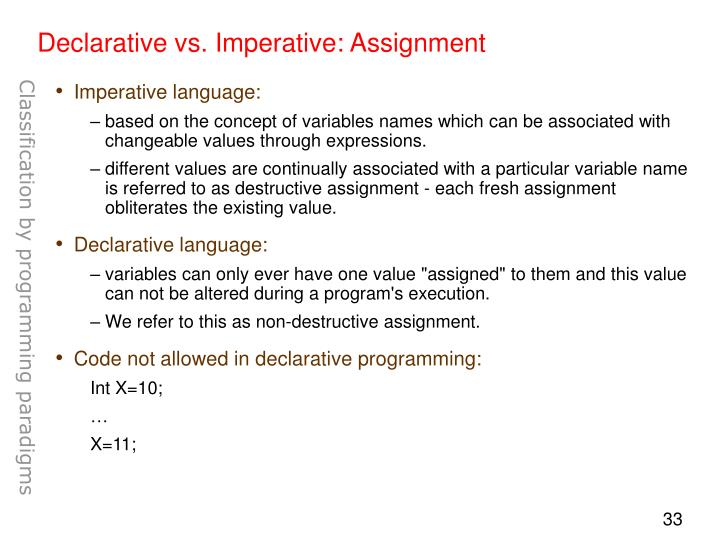 Declarative vs. Imperative: Assignment