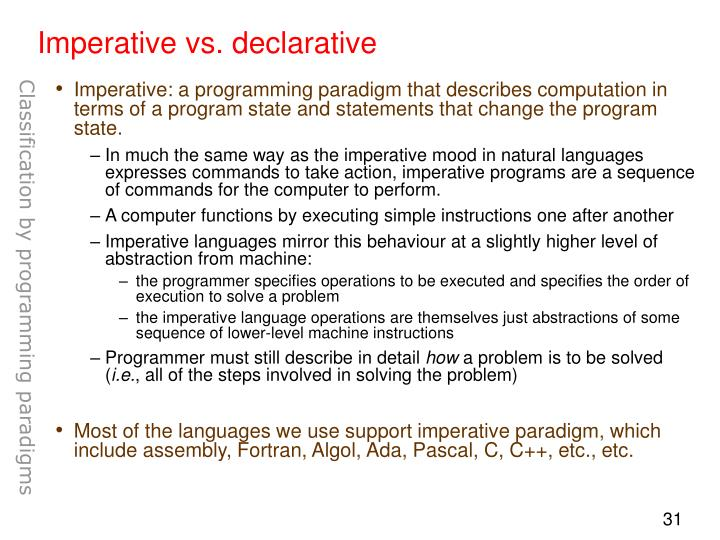 Imperative vs. declarative