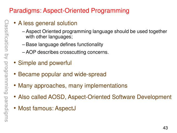 Paradigms: Aspect-Oriented Programming