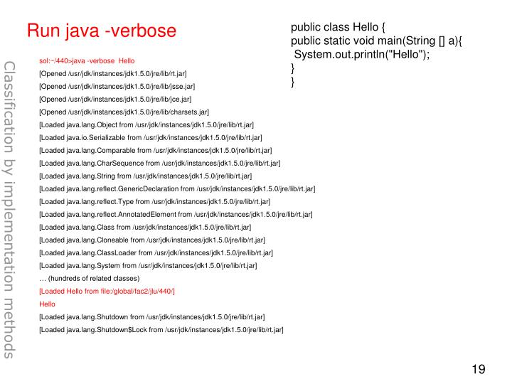 Run java -verbose