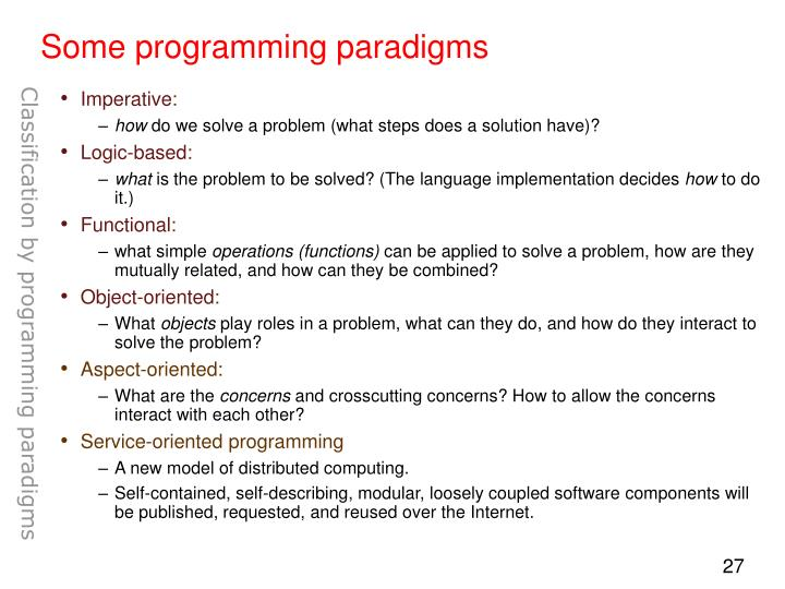 Some programming paradigms