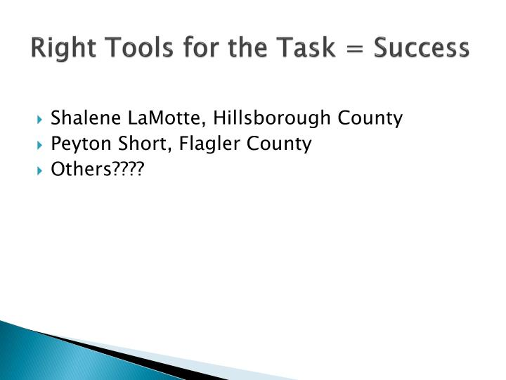 Right Tools for the Task = Success