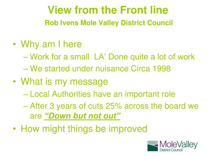 View from the front line rob ivens mole valley district council