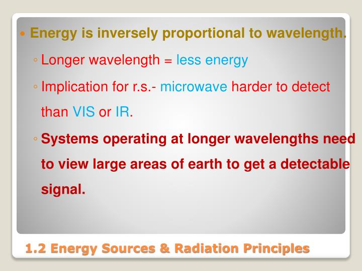 Energy is inversely proportional to wavelength.