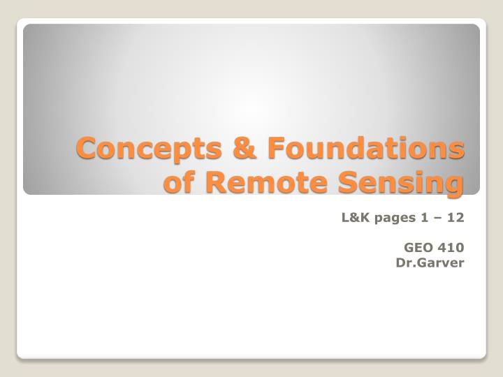 Concepts foundations of remote sensing