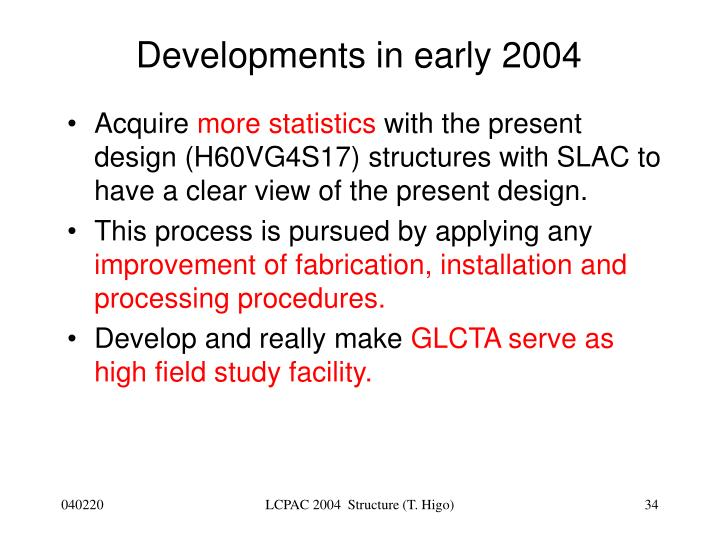 Developments in early 2004