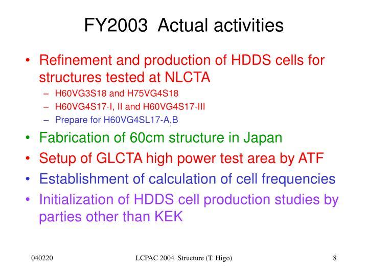 FY2003  Actual activities