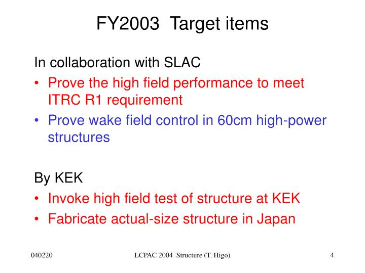 FY2003  Target items