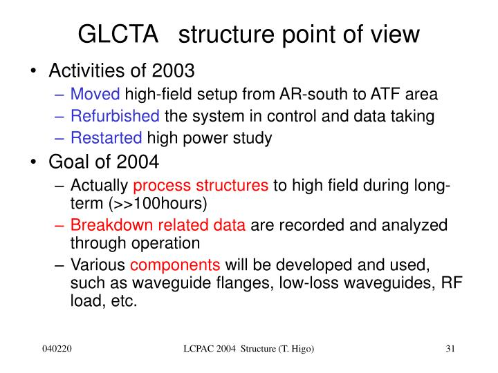 GLCTA   structure point of view