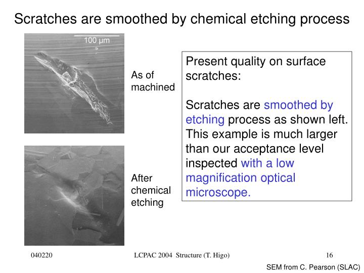 Scratches are smoothed by chemical etching process