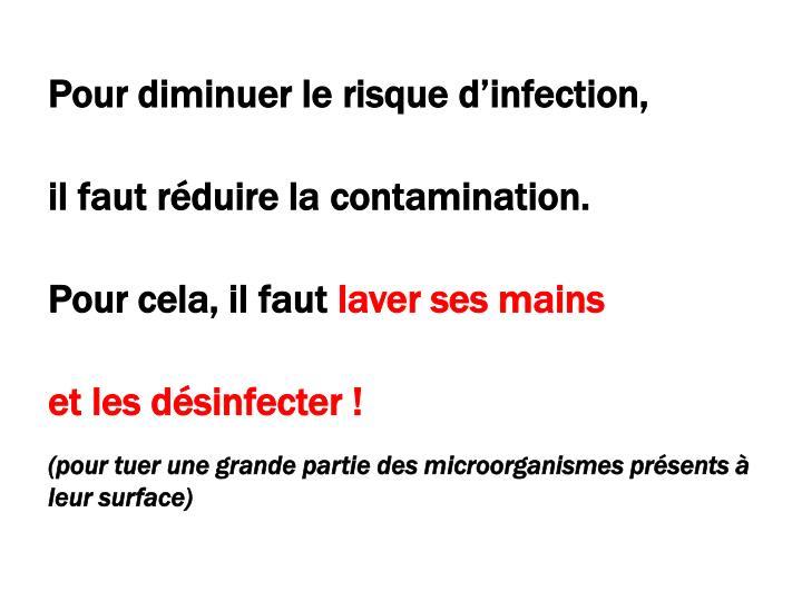 Pour diminuer le risque d'infection,
