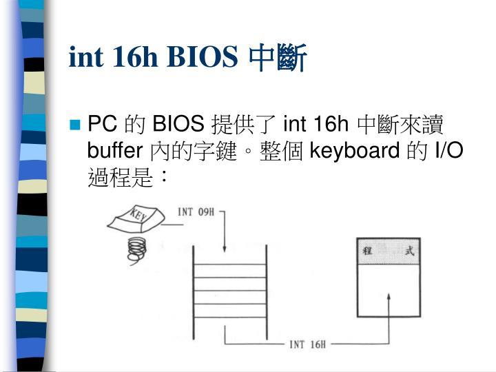 int 16h BIOS