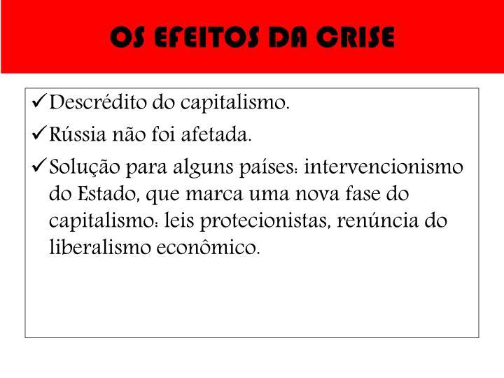 OS EFEITOS DA CRISE