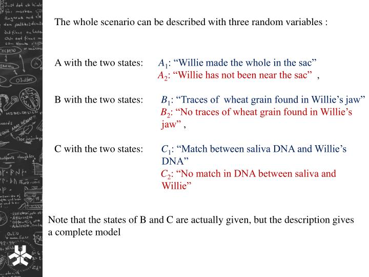 The whole scenario can be described with three random variables :