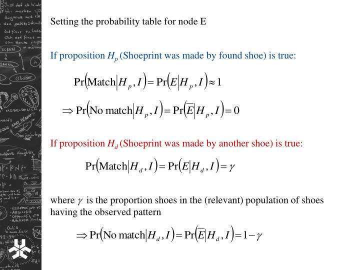 Setting the probability table for node E