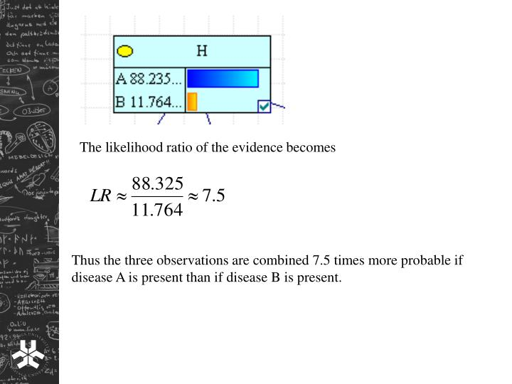 The likelihood ratio of the evidence becomes