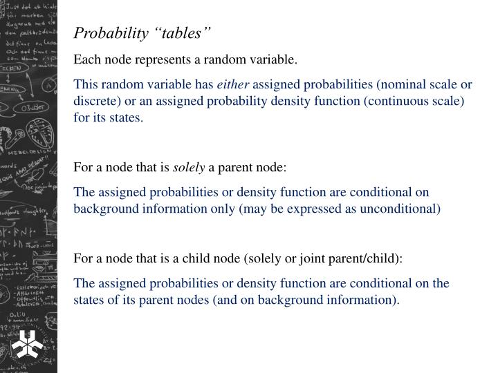 """Probability """"tables"""""""