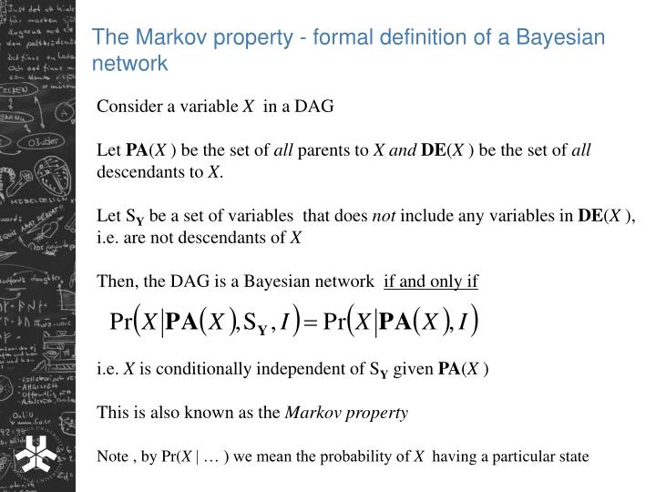 The Markov property - formal definition of a Bayesian network