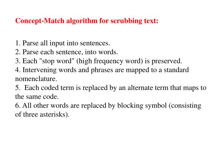Concept-Match algorithm for scrubbing text: