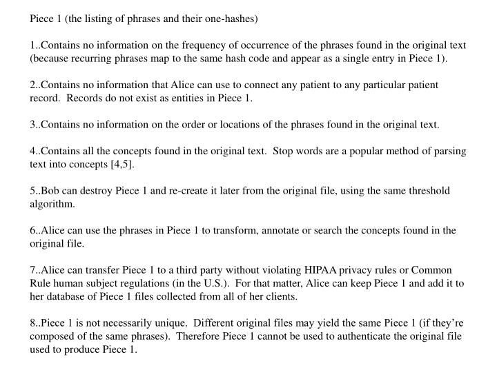Piece 1 (the listing of phrases and their one-hashes)
