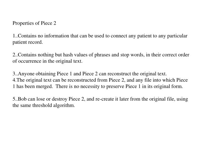Properties of Piece 2