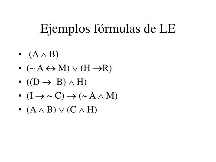 Ejemplos fórmulas de LE