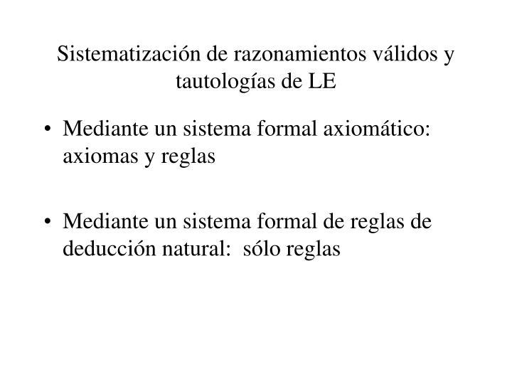 Sistematización de razonamientos válidos y tautologías de LE