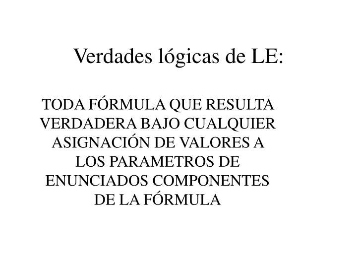 Verdades lógicas de LE: