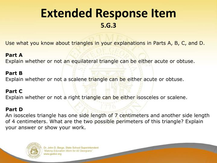 Extended Response Item