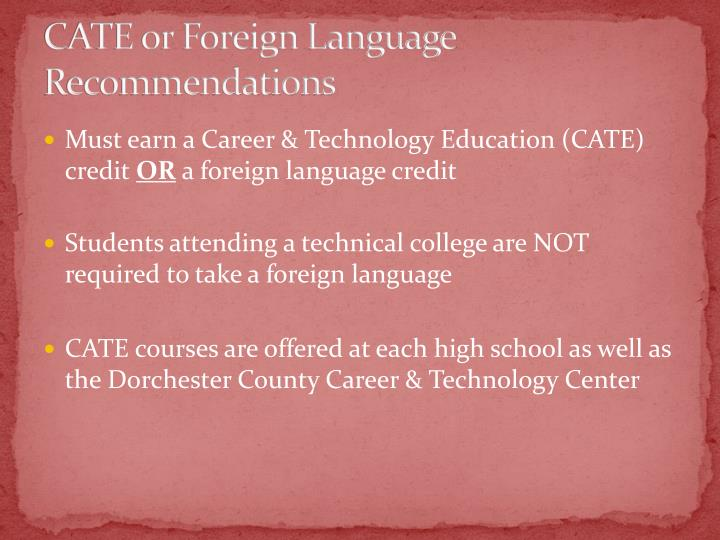 CATE or Foreign Language Recommendations