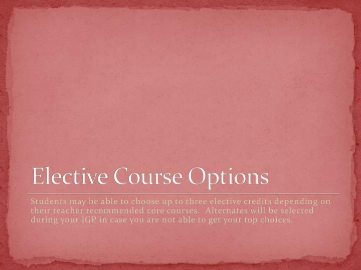 Elective Course Options