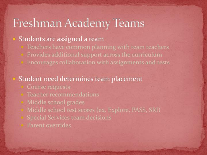 Freshman Academy Teams