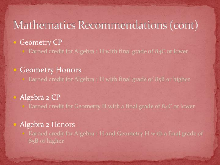 Mathematics Recommendations (cont)