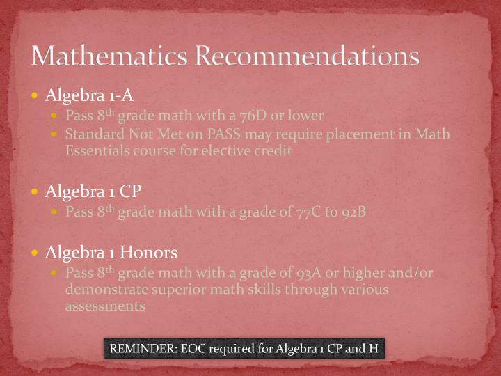 Mathematics Recommendations