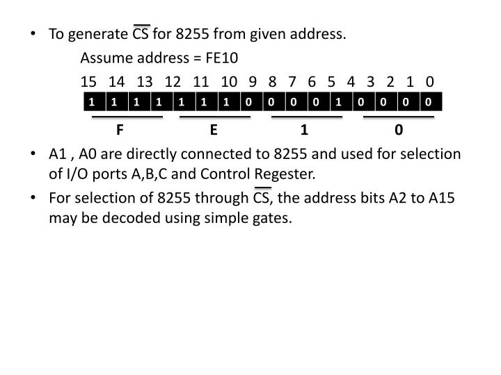 To generate CS for 8255 from given address.