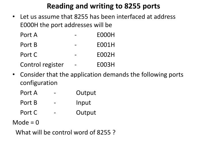 Reading and writing to 8255 ports