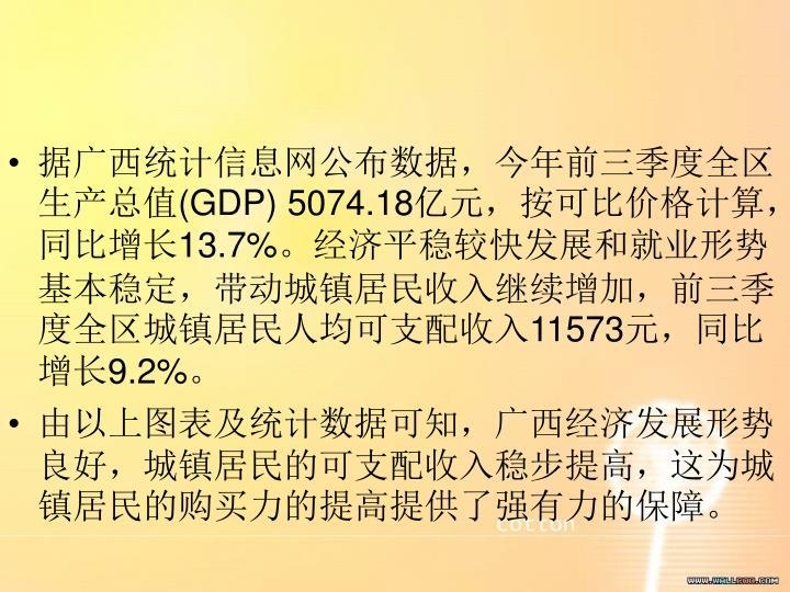 据广西统计信息网公布数据,今年前三季度全区生产总值