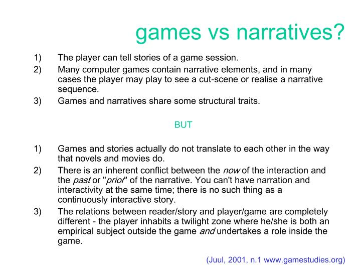 Games vs narratives
