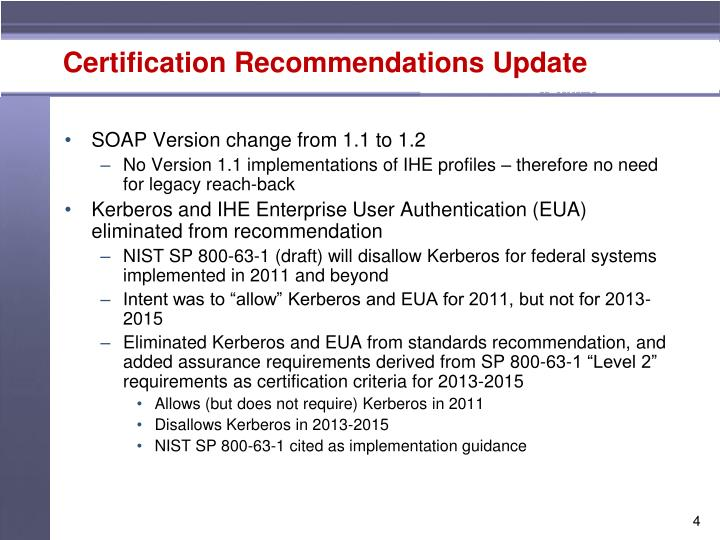 Certification Recommendations Update